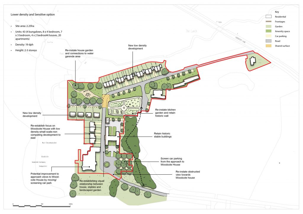 A map of the low density option of the Woodcote site