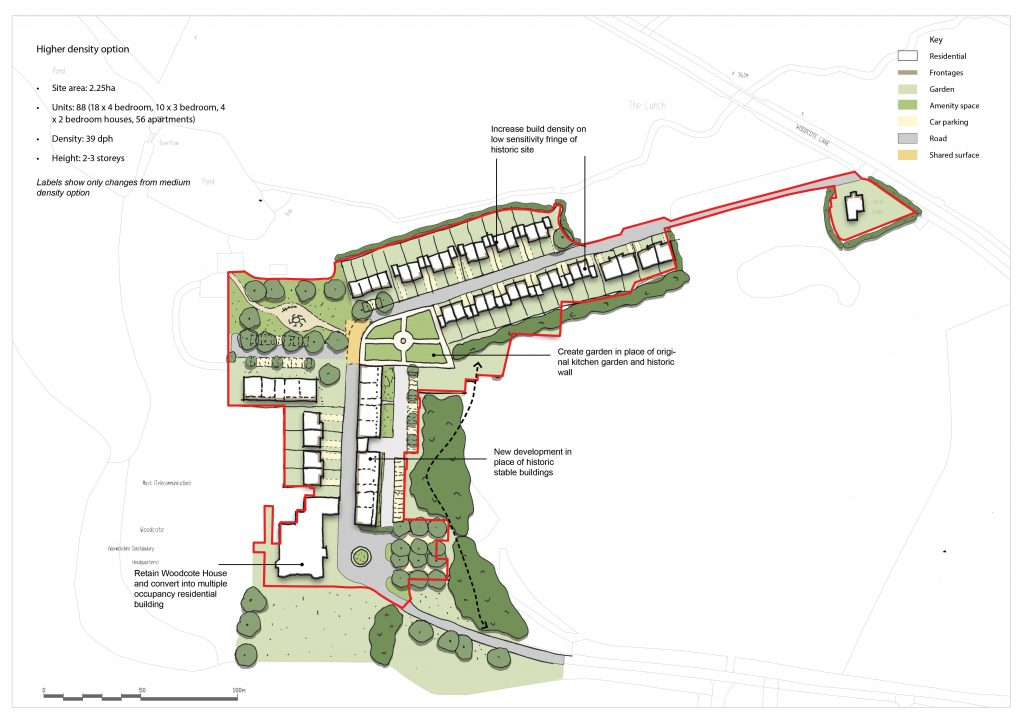 A map of the high density option for Woodcote