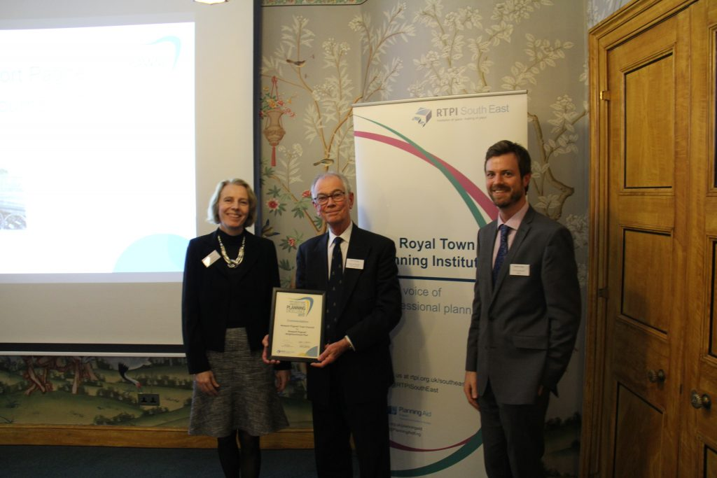 Image shows the Town Council receiving the commendation award from the Royal Town Planning Institute.